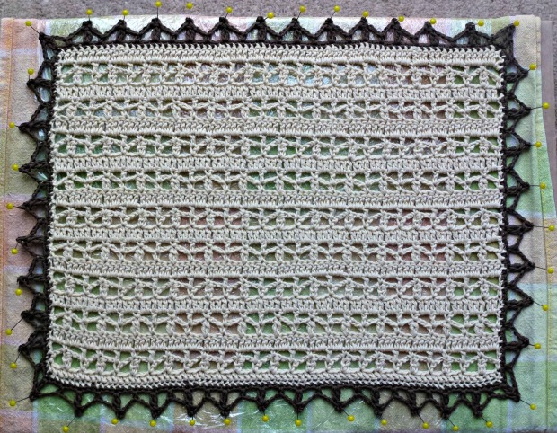 blocking crochet doily