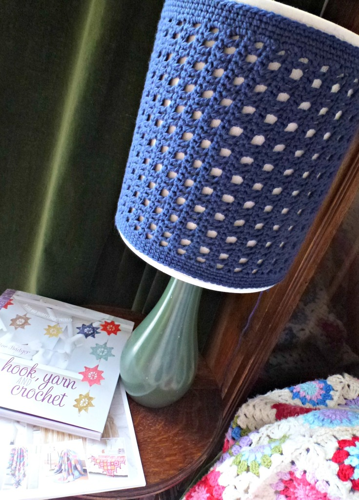 blue crochet lamp shade