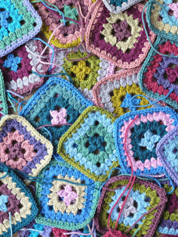 collection of petal patch granny squares