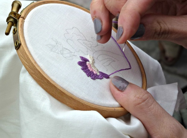 embroidered sweet peas