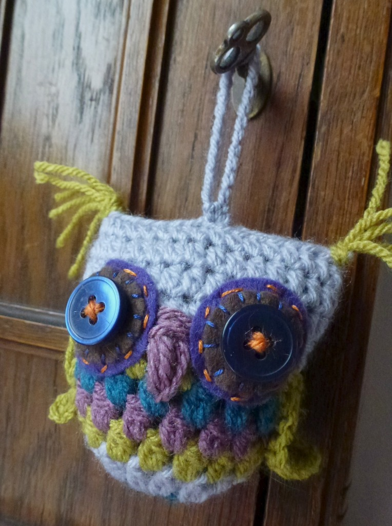 lime and lilac crochet owl
