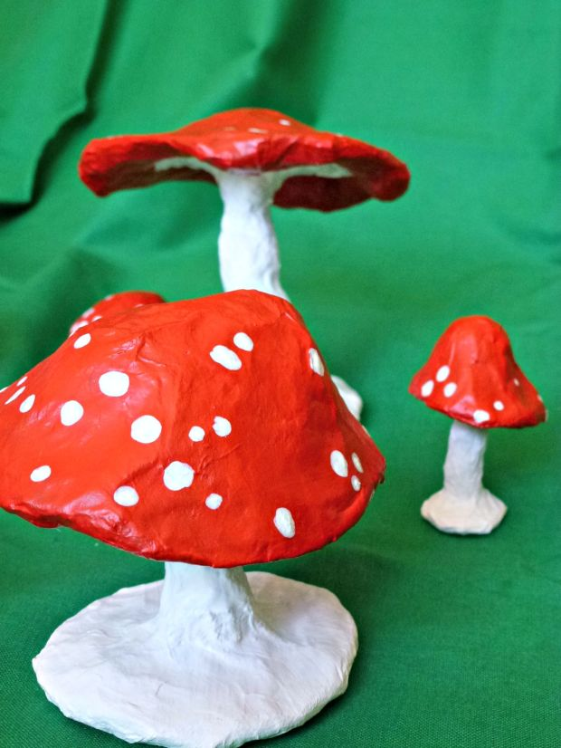 paper mache toadstool decoration.