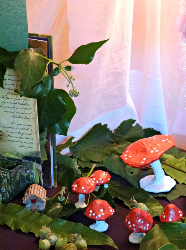 paper mache toadstools used as fairy party decorations
