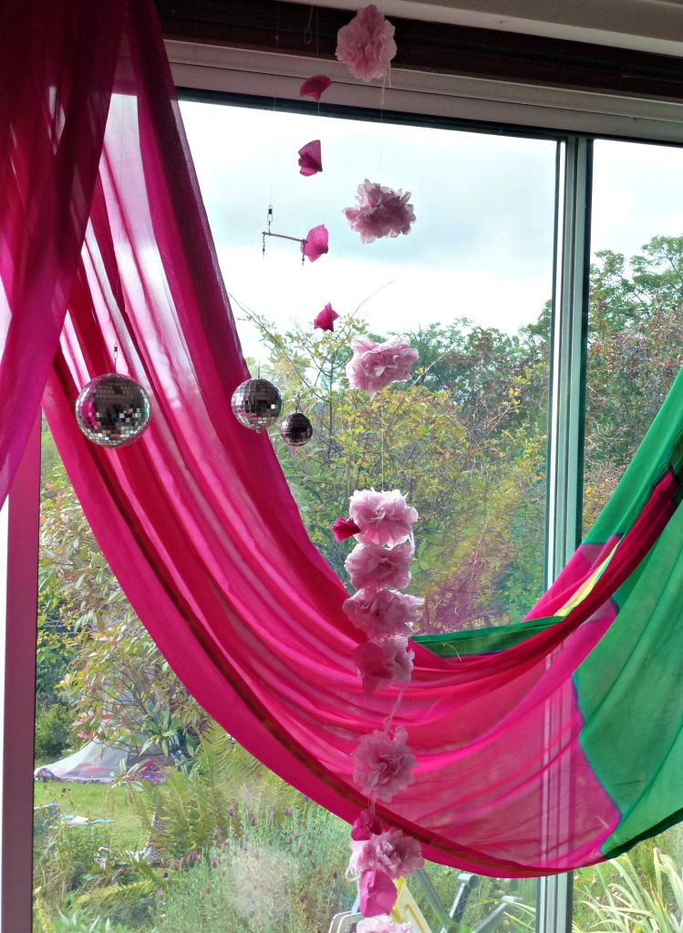 starting to decorate for a fairy party