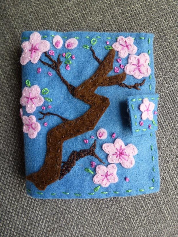 felt cherry blossom. Hand sewn needle case.