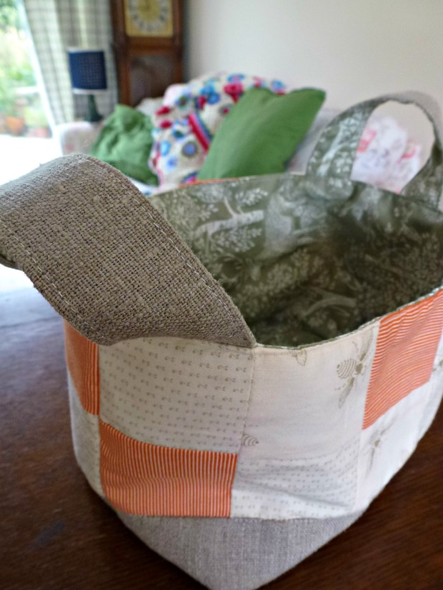 I made a patchwork fabric basket! Much easier than I thought it'd be!