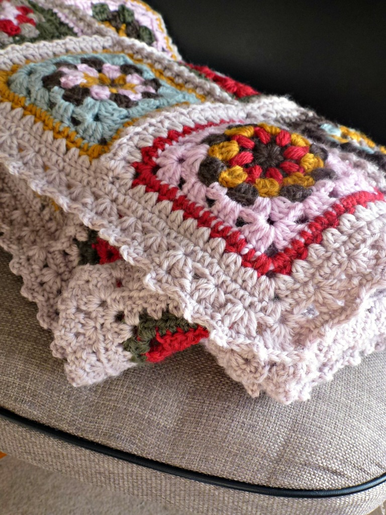 newly made crochet granny blanket