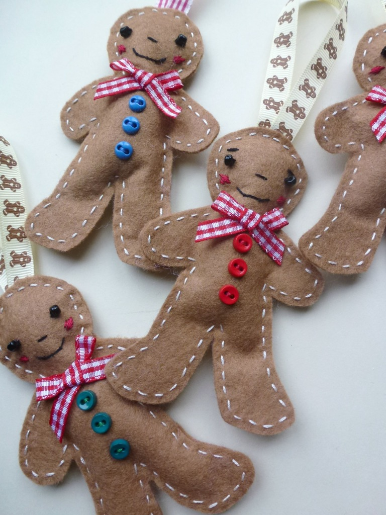 Felt gingerbread men for the Christmas tree.