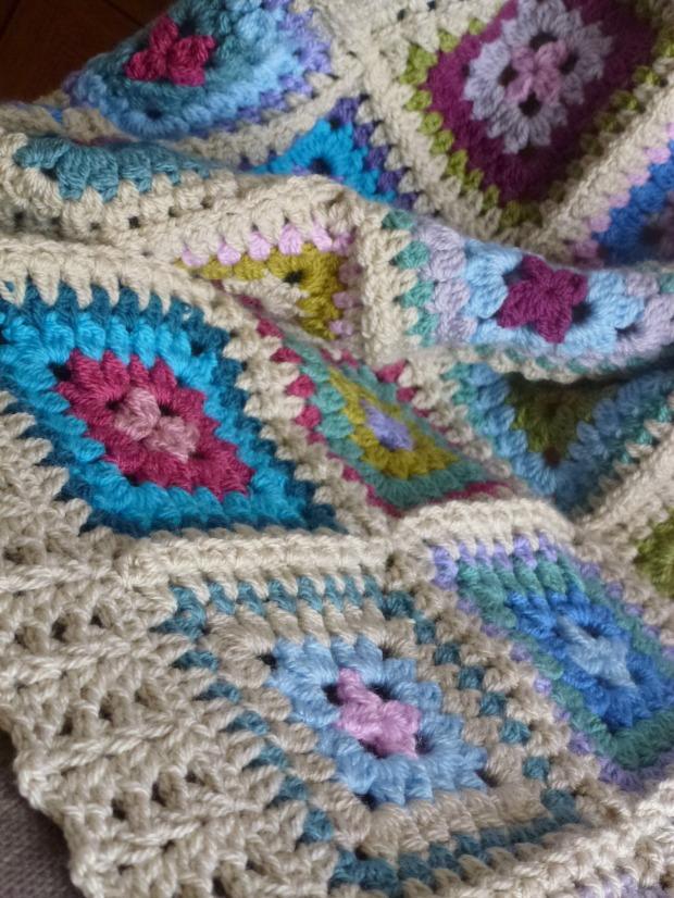 finished petal patch crochet blanket