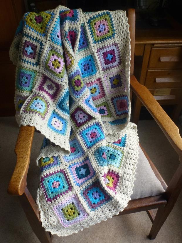 harmony petal patch crochet blanket.