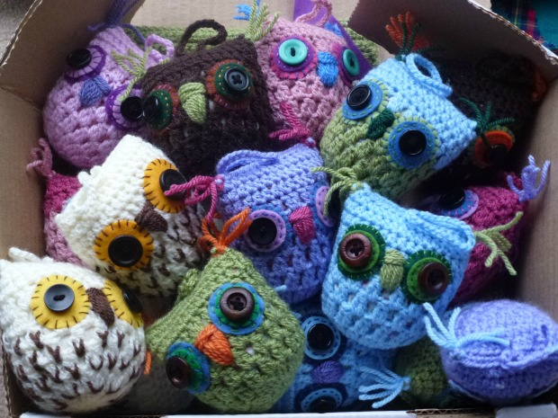 lots of crochet owls.