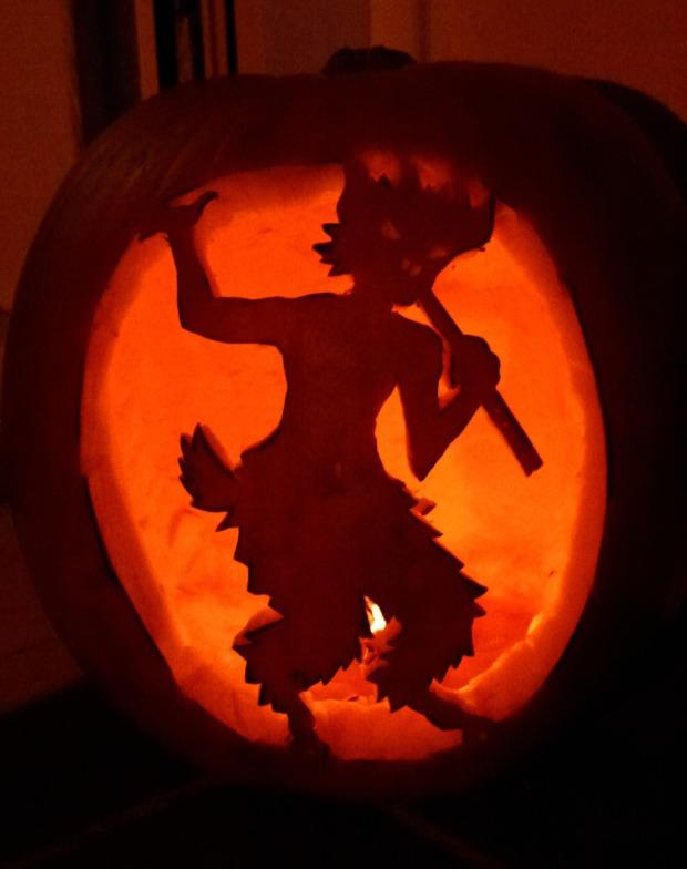 Pumpkin pan. A Halloween satyr.