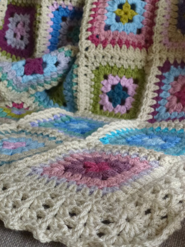 the corner of the petal patch crochet blanket