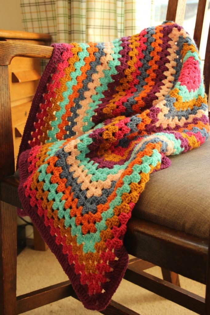 A Granny Square Crochet Blanket.