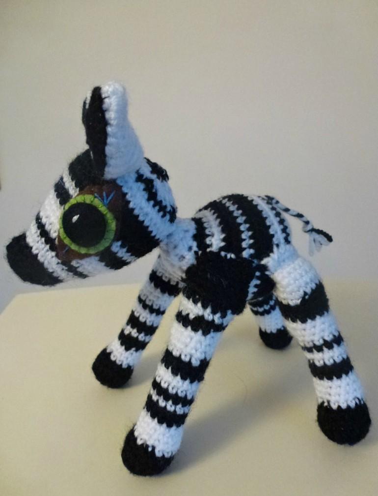 An amigurumi zebra