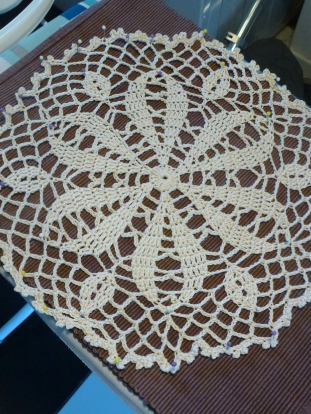 blocking the round doily.