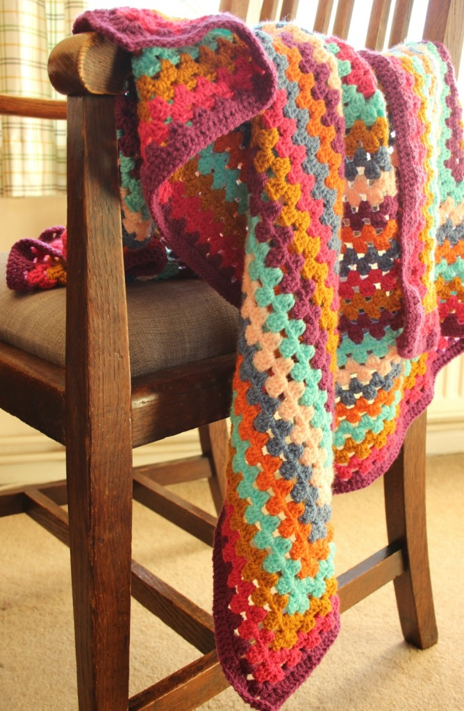 Crochet Granny Square Blanket for Itchy Fingers.