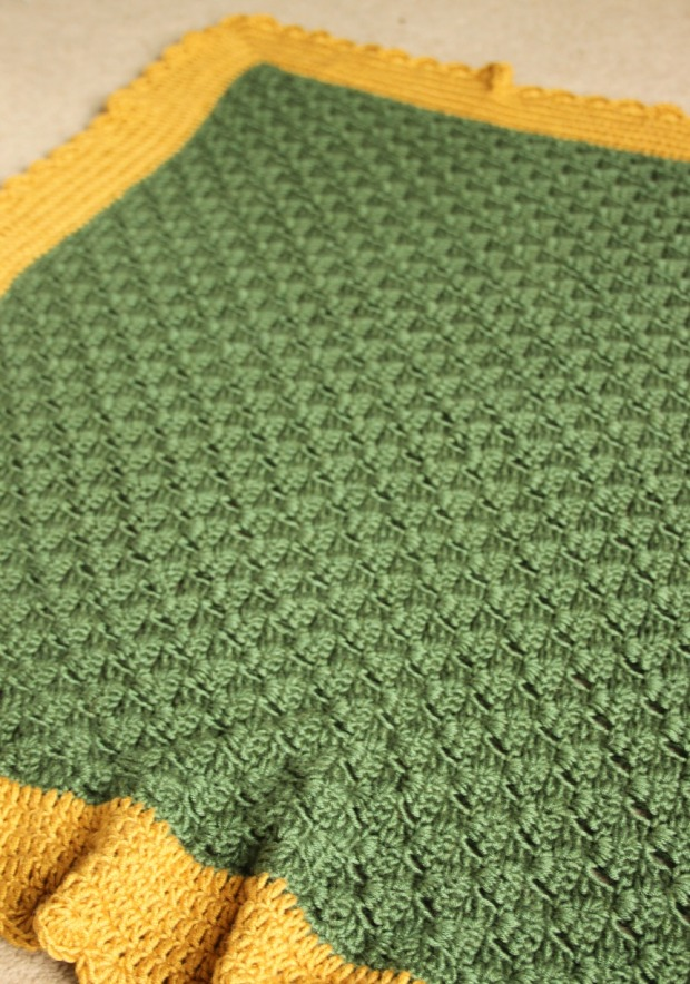 Green and mustard c2c crochet blanket