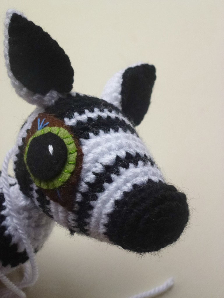 hand made crochet zebra