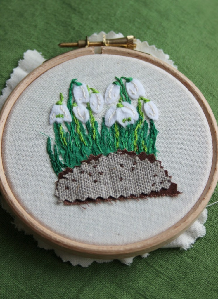almost completed snowdrops stitching.