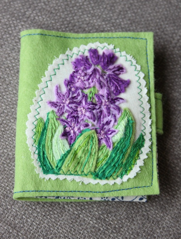 Hyacinth embroidered needlecase
