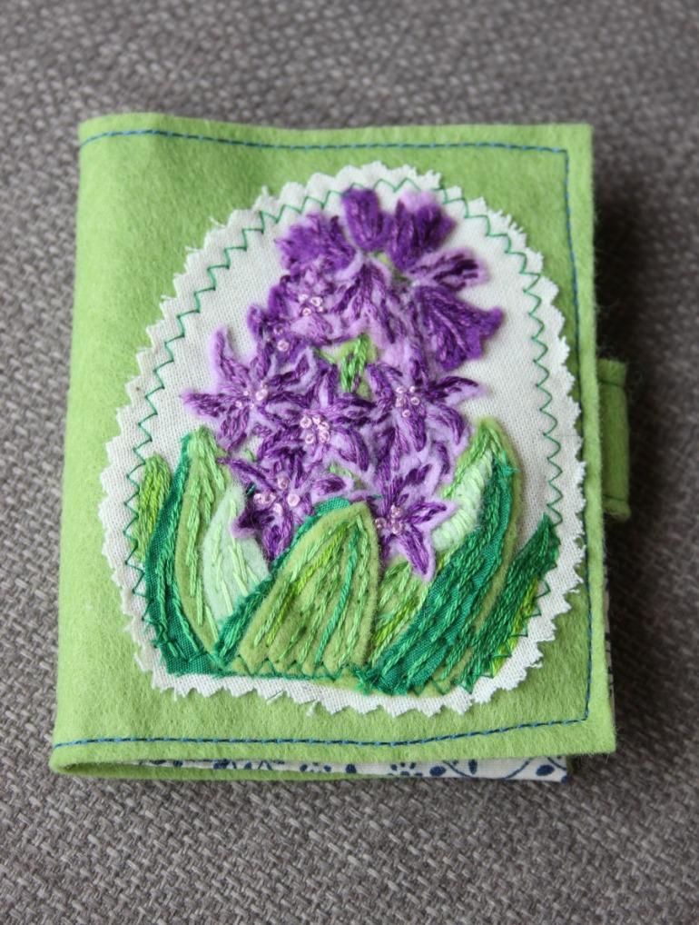 Hyacinth embroidered needlecase