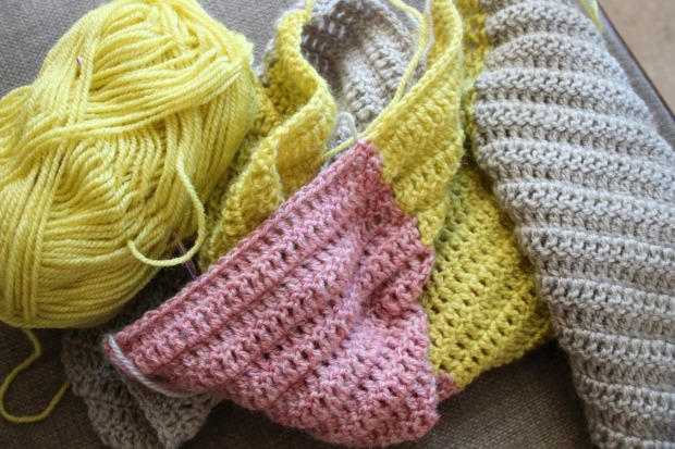 Making a crochet scarf.