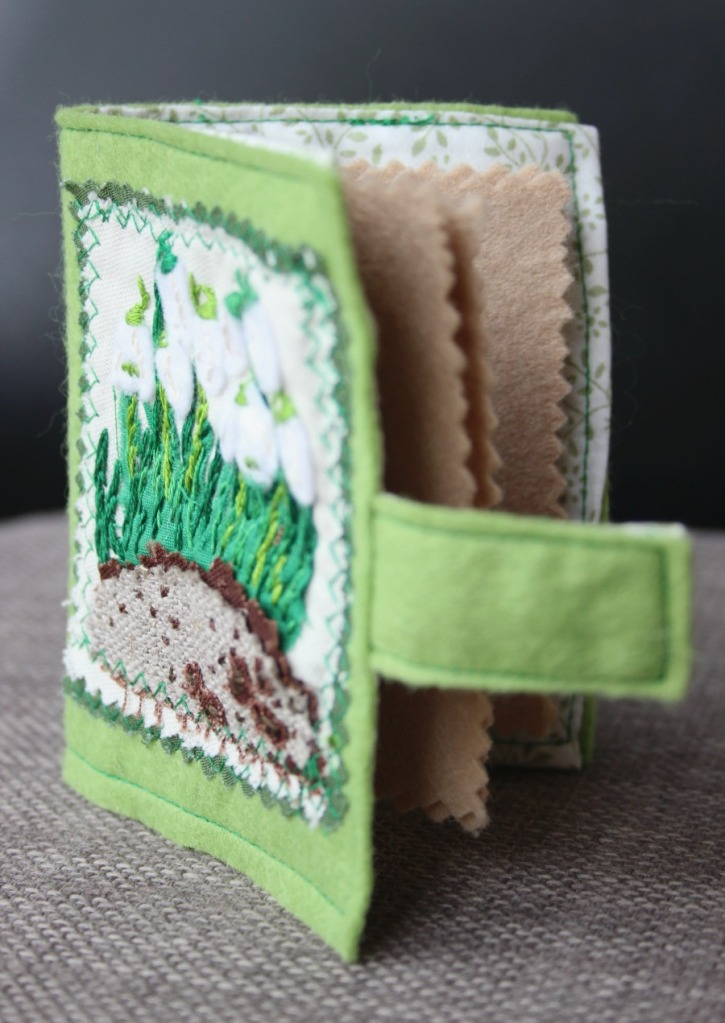 Snowdrops embroidered needle case