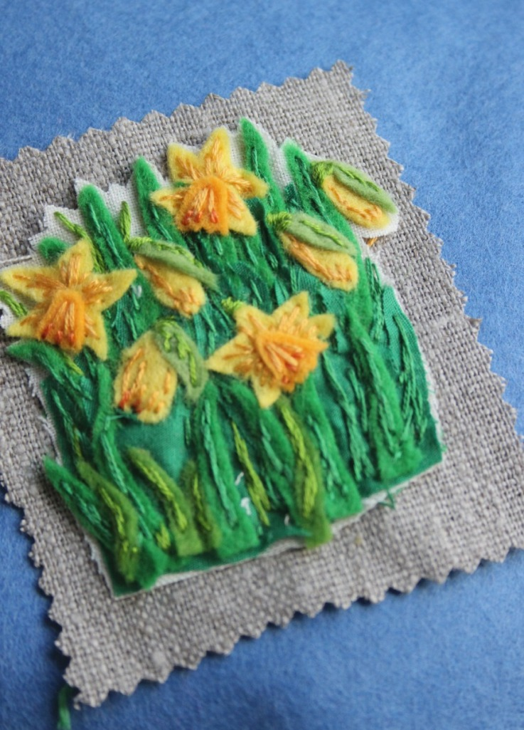 stitching daffs. daffodil embroidery