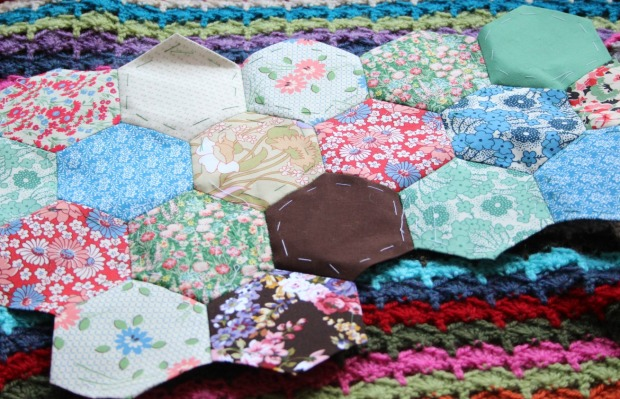 paper piecing hexies.