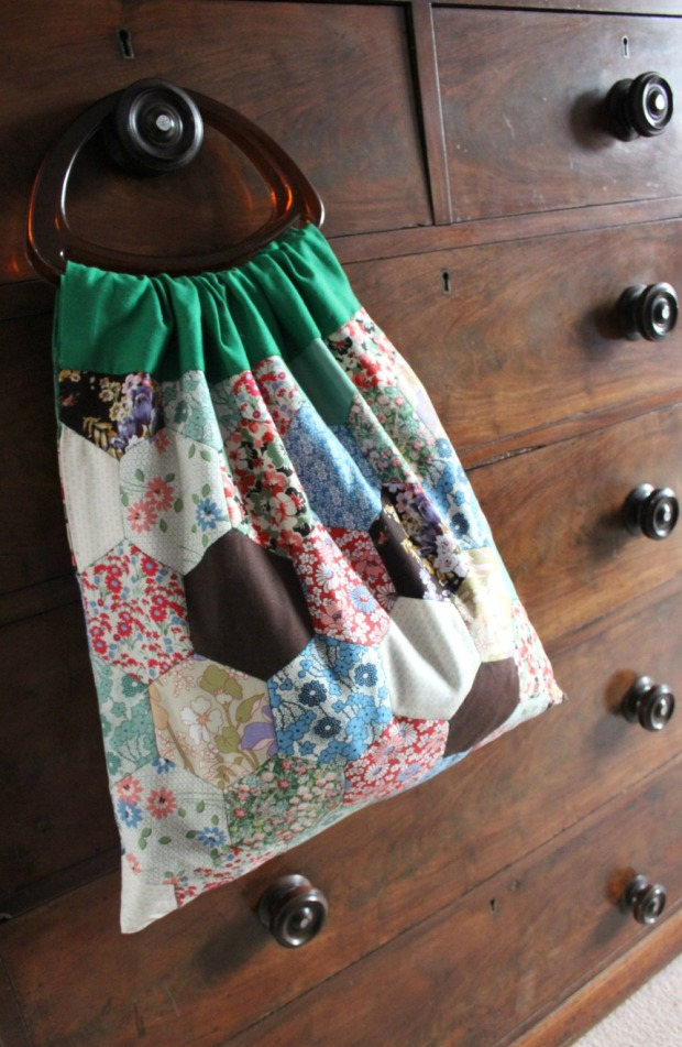 A patchwork knitting bag.
