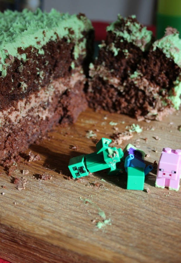 An eaten Mine Craft cake.