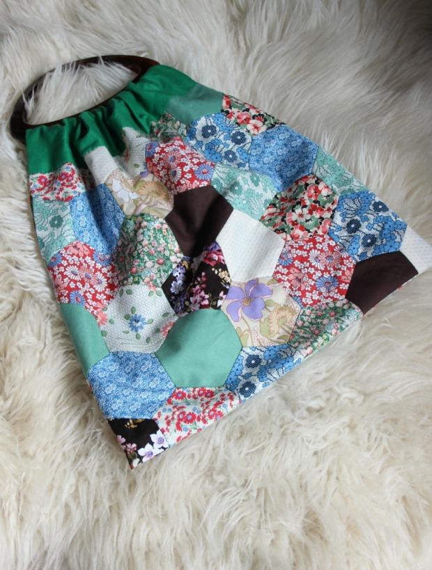 Finished! Patchwork knitting bag.