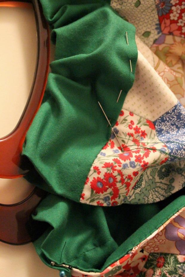 Slip stitches. Patchwork knitting bag.