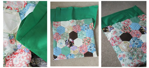 Step by step pictures to lining a patchwork knitting bag