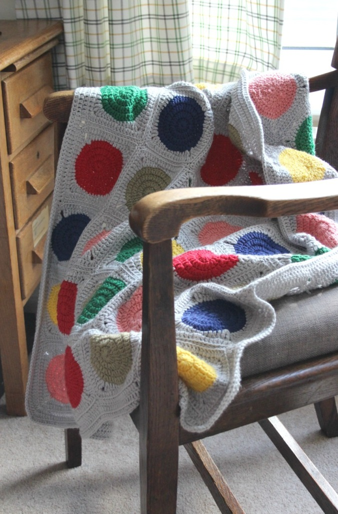 Another baby blanket done. Love this one. Simple crochet circles in squares.