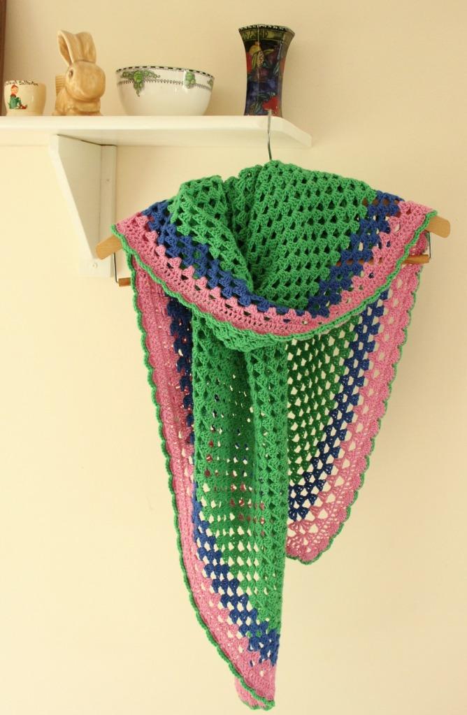 bright crochet granny shawl
