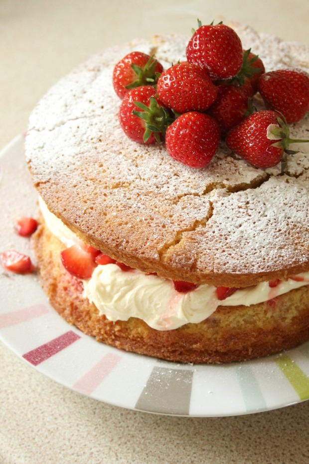A delicious strawberry vanilla sponge cake.