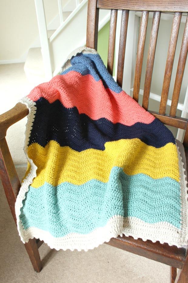 block colour crochet ripple blanket
