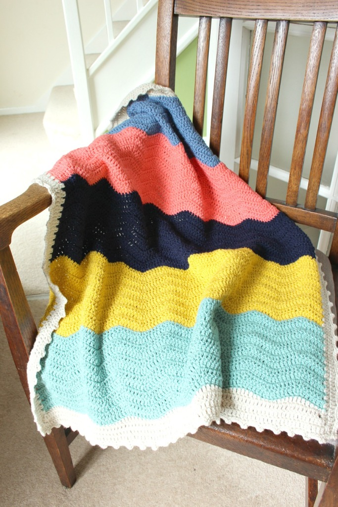 block colour crochet ripple blanket