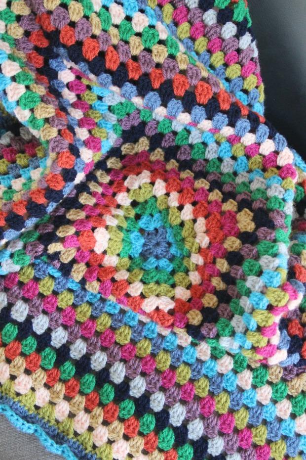 Bright crochet granny square blanket