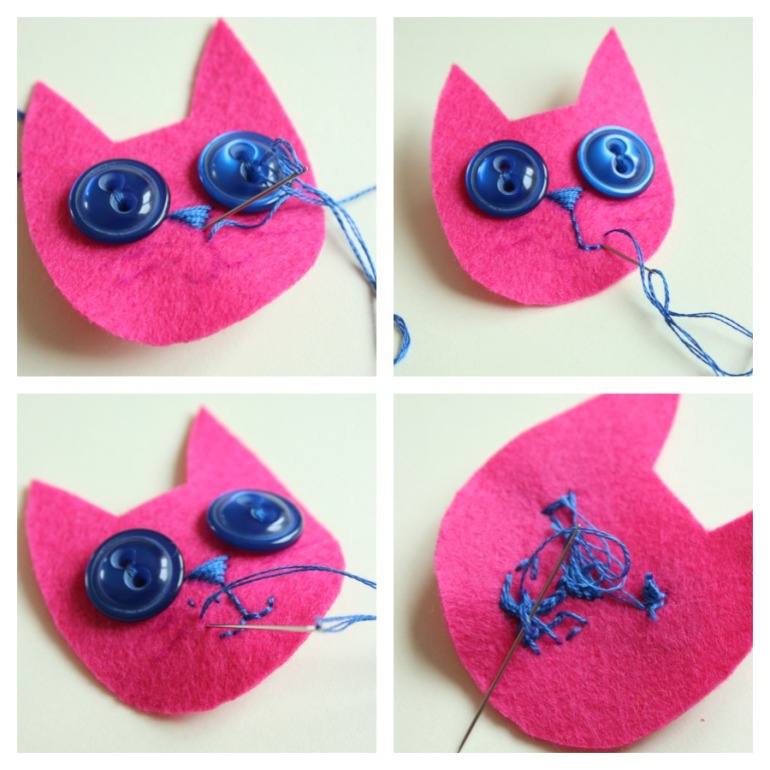 cat face embroidery