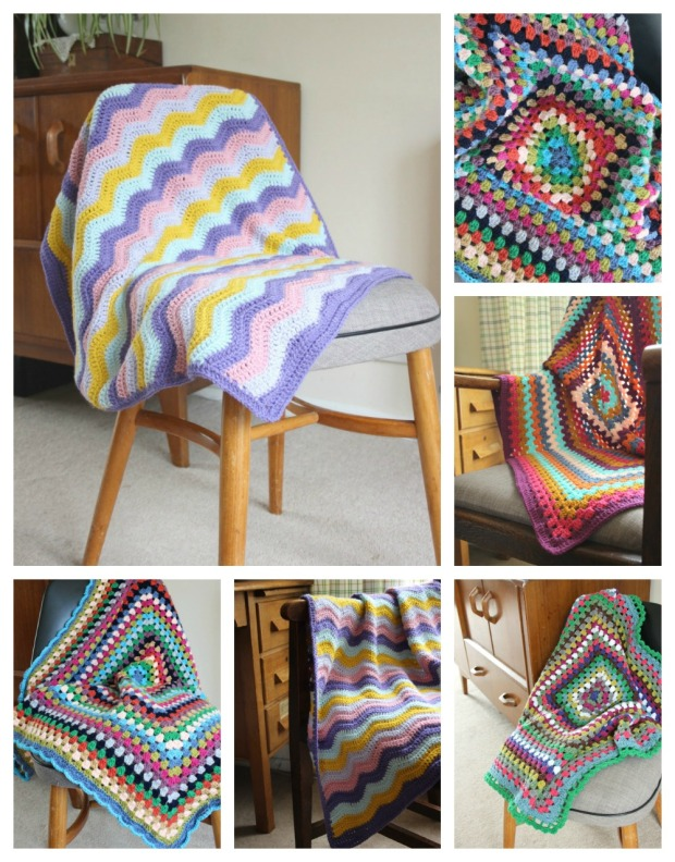 Collection of crochet blankets.