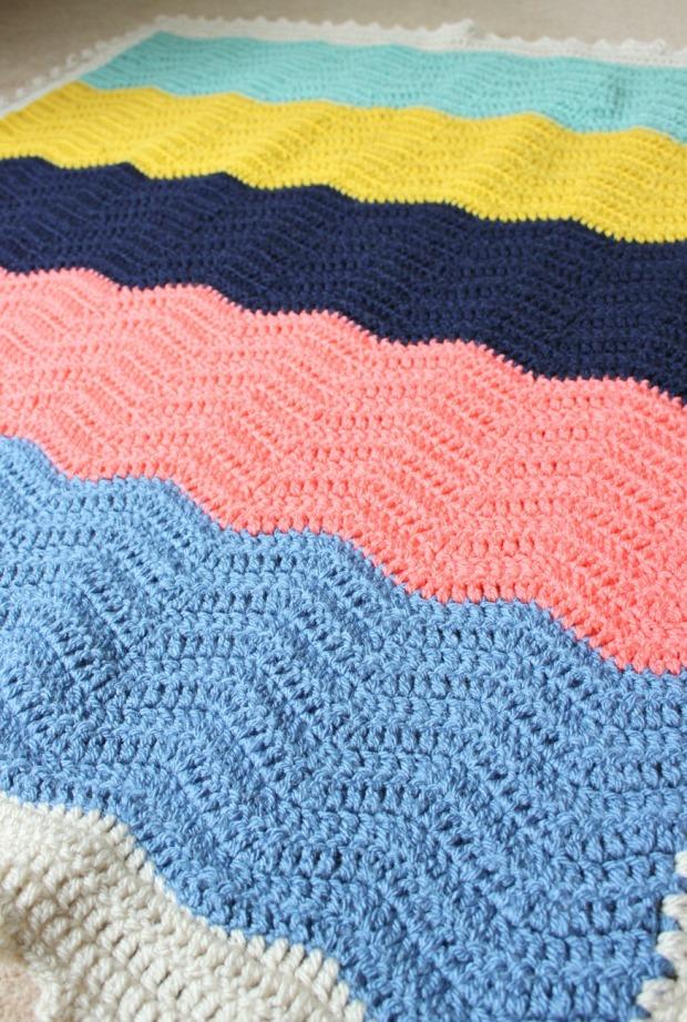 Colour block crochet ripple blanket.