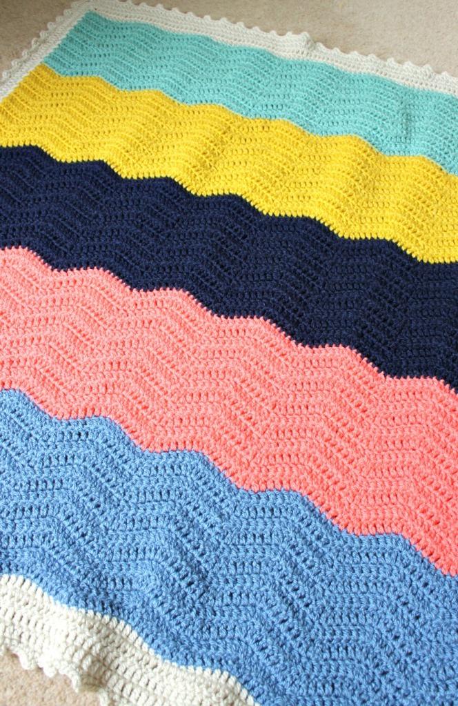 Crochet ripples. block colour blanket.