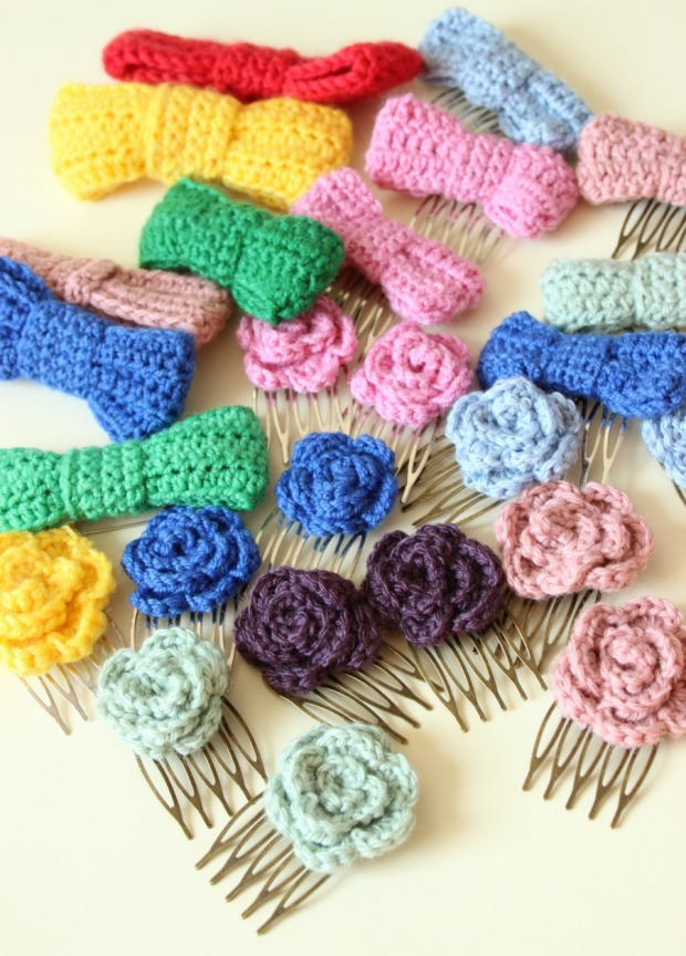 crochet roses and bows