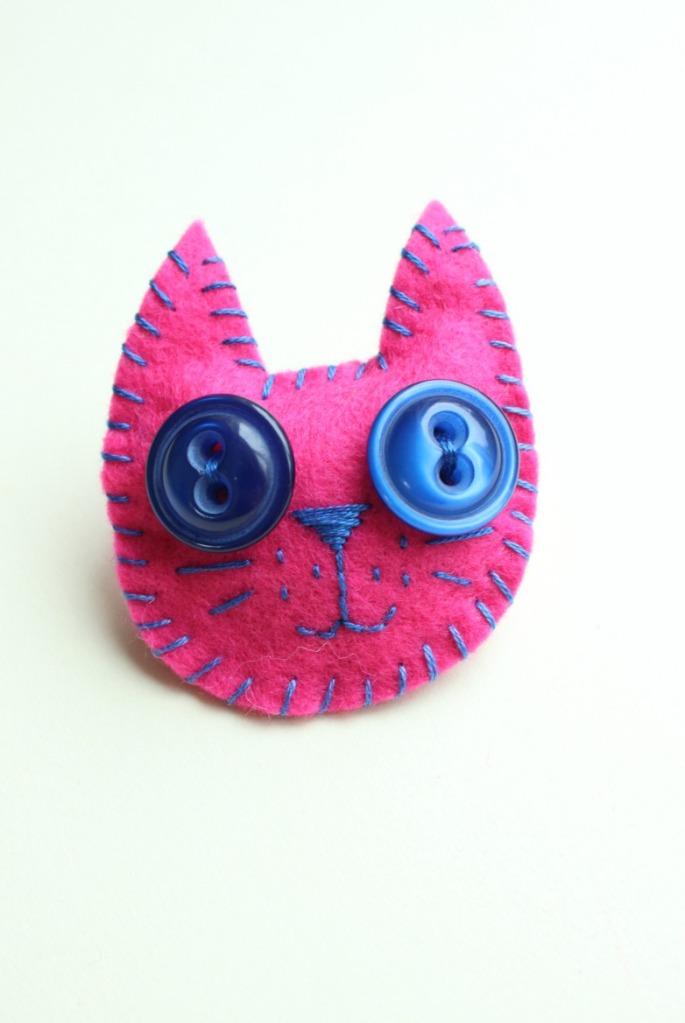Pink kitty cat. Felt cat tutorial.