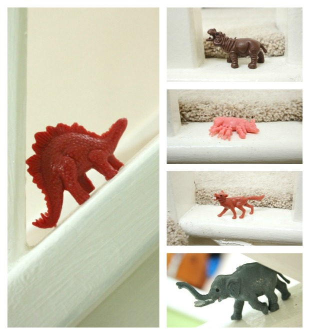 plastic animals on the stairs