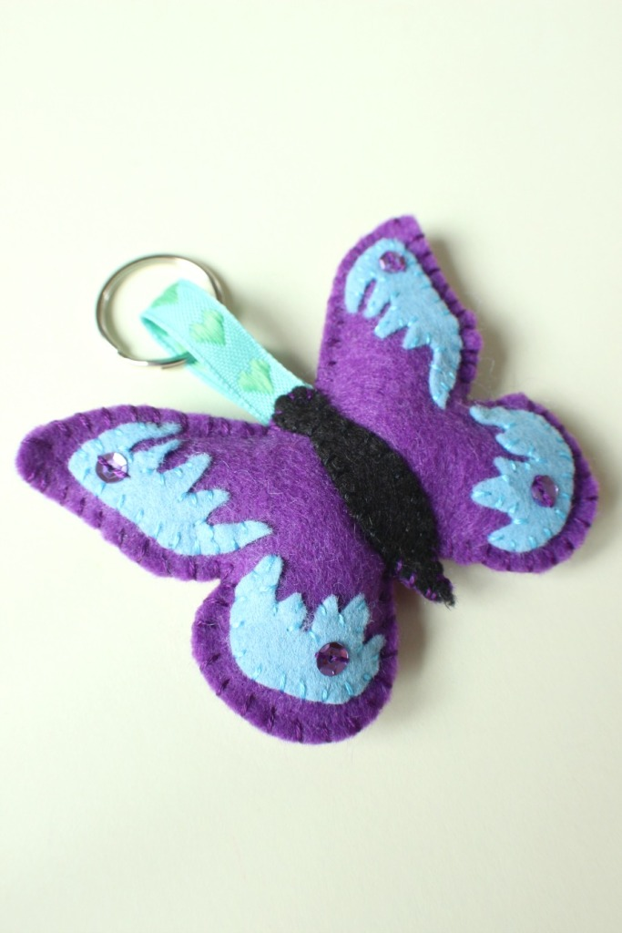 purple and blue butterfly keyring.