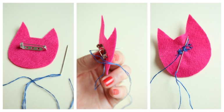 sewing on a brooch back.